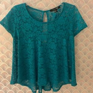 🌈 ✨ Forever 21 green lace shirt ✨